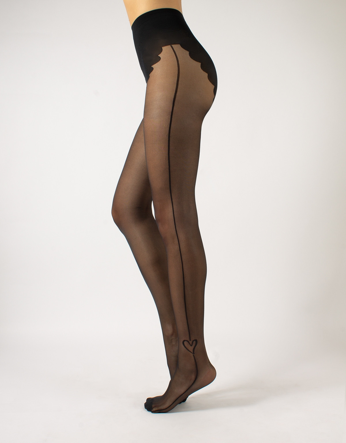 SHEER TIGHTS WITH SIDE LINE AND HEART - 20 DEN