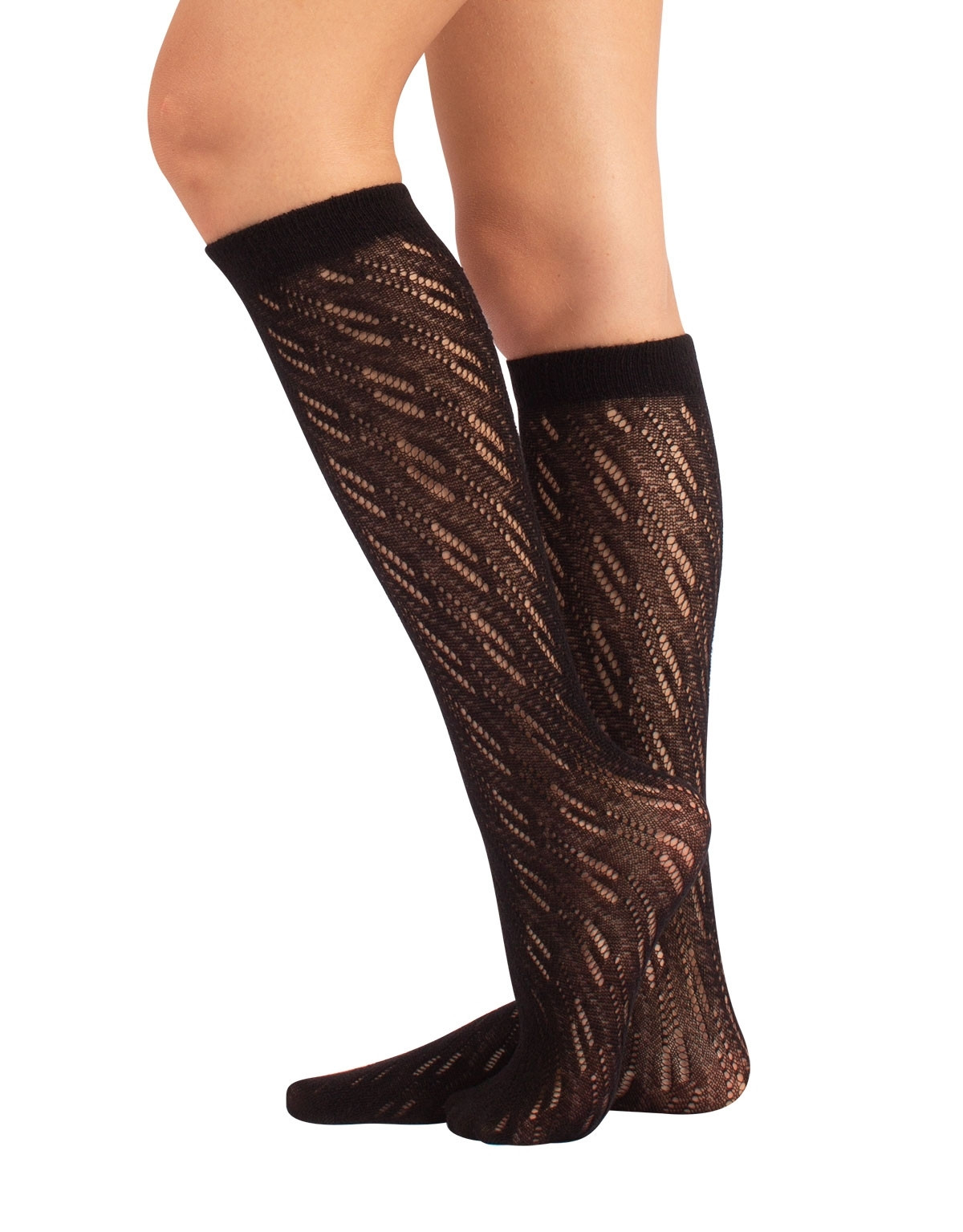 WOOL KNEE HIGH SOCKS RIBBED PATTERN - 300 DEN