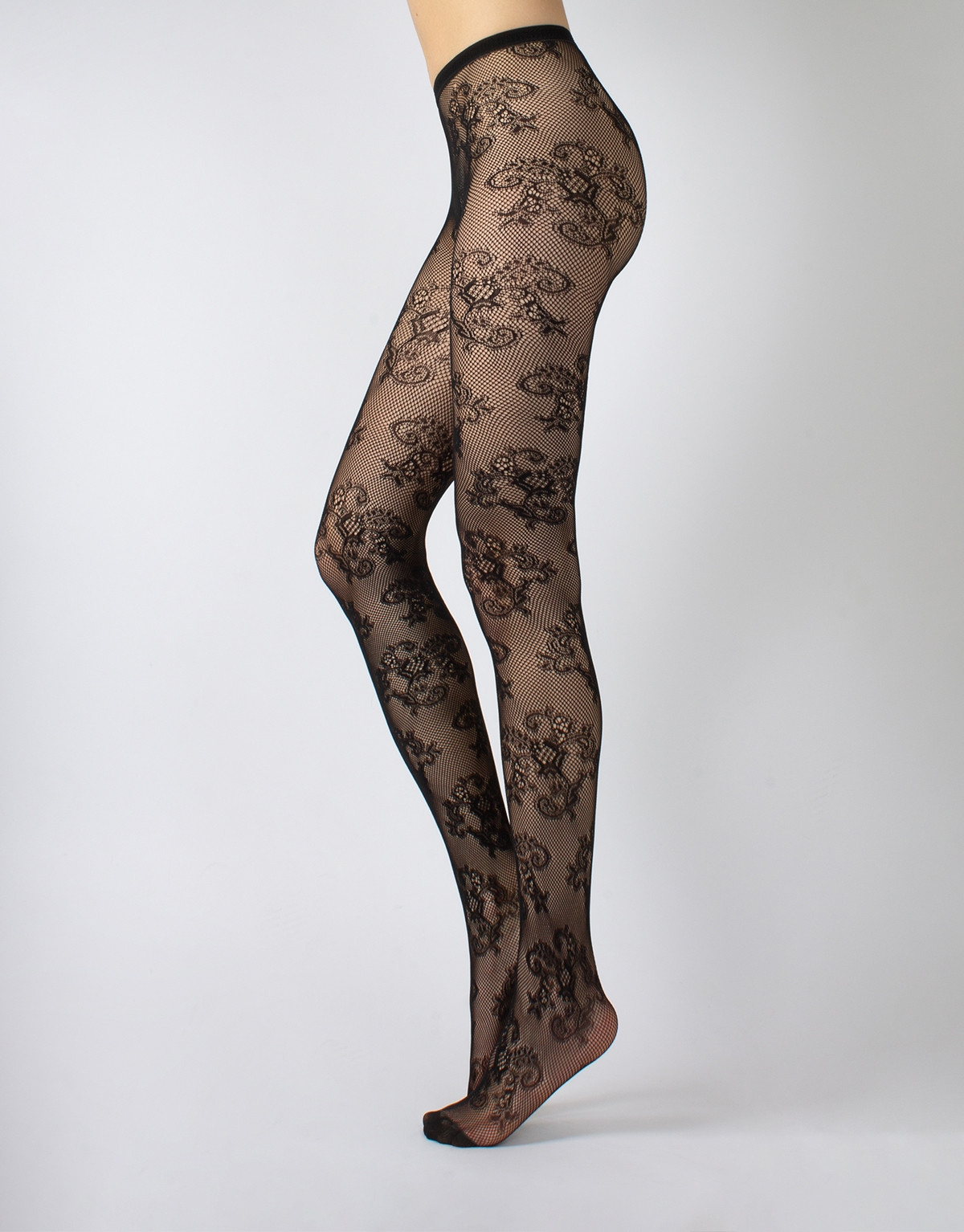 LACE FISHNET TIGHTS WITH FLORAL PATTERN