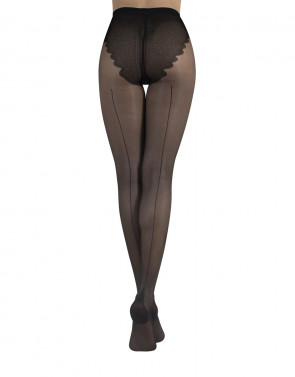SHEER TIGHTS WITH BACK SEAM AND BIKINI BRIEF - 20 DEN