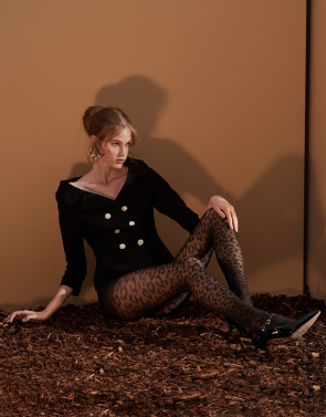 MICRO FISHNET TIGHTS WITH ANIMAL PATTERN - 50 DEN
