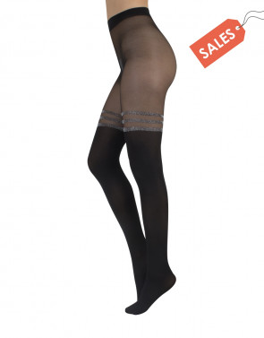 THIGH HIGH TIGHTS WITH SILVER STRIPES - 20/40 DEN