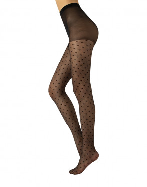 SHEER TIGHTS HEART PATTERN - 20 DEN