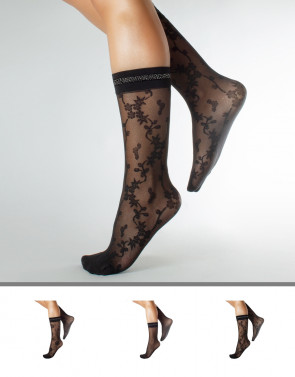 FISHNET SOCKS FLORAL PATTERN – 20 DEN