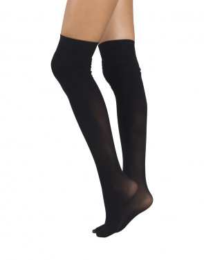 BLACK OVER THE KNEE SOCKS CURLED EFFECT - 40 DEN