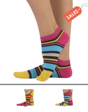 UNISEX ANKLE SOCKS - IRREGULAR STRIPES
