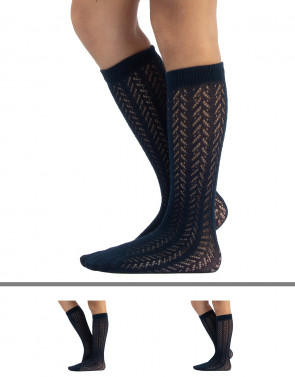 GIRL COTTON KNEE-HIGH SOCKS - CHEVRON AND GEOMETRIC